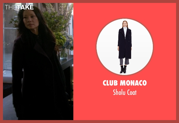 Club Monaco black coat from Elementary seen with Dr. Joan Watson (Lucy Liu)
