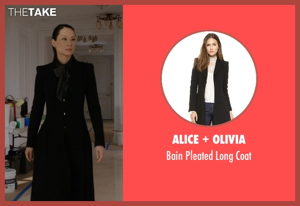 Alice + Olivia black coat from Elementary seen with Dr. Joan Watson (Lucy Liu)
