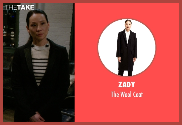 Zady black coat from Elementary seen with Dr. Joan Watson (Lucy Liu)
