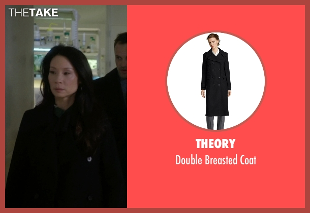 Theory black coat from Elementary seen with Dr. Joan Watson (Lucy Liu)