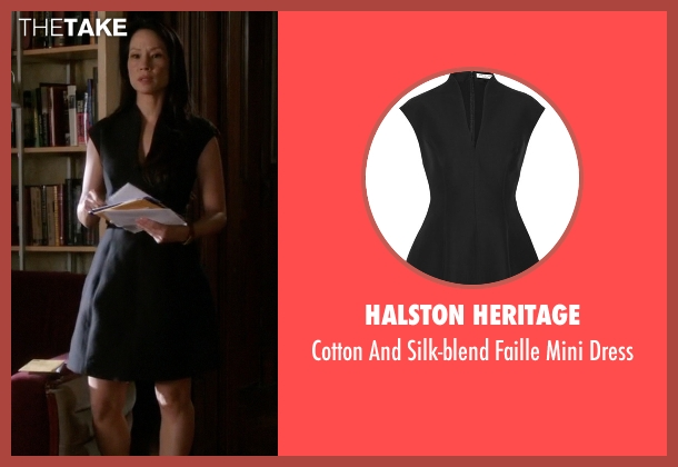 Halston Heritage black dress from Elementary seen with Dr. Joan Watson (Lucy Liu)