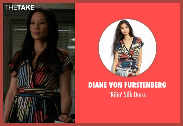 Diane von Furstenberg black dress from Elementary seen with Dr. Joan Watson (Lucy Liu)
