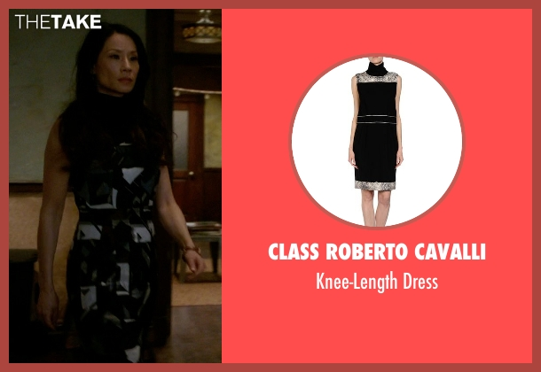 Class Roberto Cavalli black dress from Elementary seen with Dr. Joan Watson (Lucy Liu)