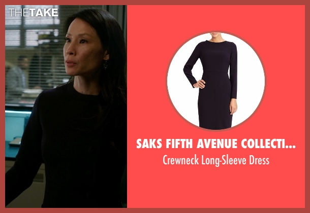 Saks Fifth Avenue Collection Ponte black dress from Elementary seen with Dr. Joan Watson (Lucy Liu)