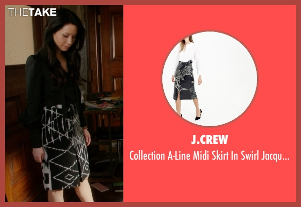 J.Crew black jacquard from Elementary seen with Dr. Joan Watson (Lucy Liu)