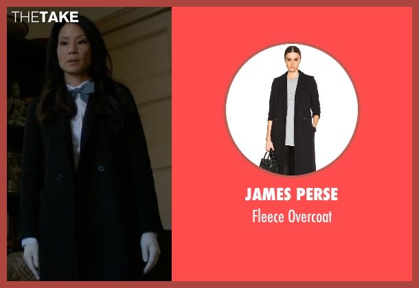 James Perse black overcoat from Elementary seen with Dr. Joan Watson (Lucy Liu)