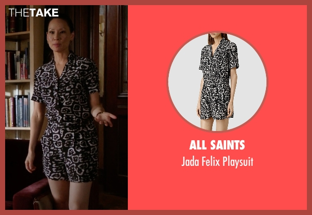 All Saints black playsuit from Elementary seen with Dr. Joan Watson (Lucy Liu)