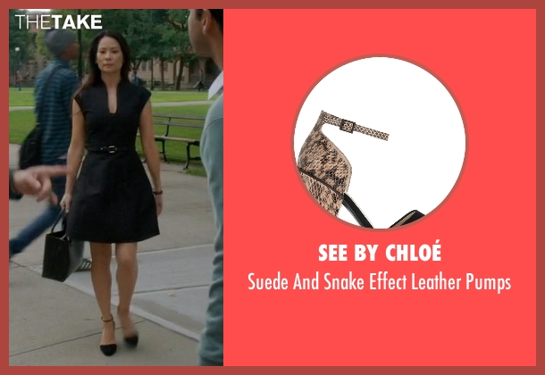 See By Chloé black pumps from Elementary seen with Dr. Joan Watson (Lucy Liu)