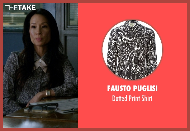 Fausto Puglisi black shirt from Elementary seen with Dr. Joan Watson (Lucy Liu)