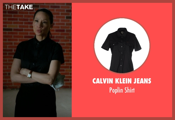 Calvin Klein Jeans black shirt from Elementary seen with Dr. Joan Watson (Lucy Liu)