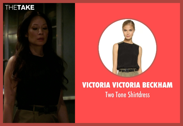 Victoria Victoria Beckham black shirtdress from Elementary seen with Dr. Joan Watson (Lucy Liu)