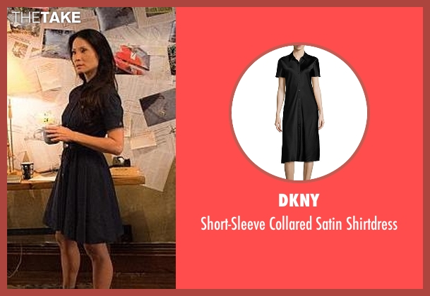 DKNY black shirtdress from Elementary seen with Dr. Joan Watson (Lucy Liu)