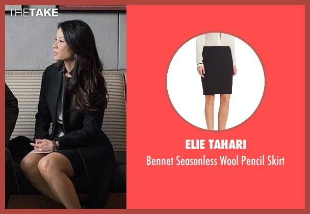 Elie Tahari black skirt from Elementary seen with Dr. Joan Watson (Lucy Liu)