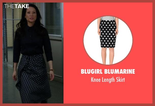 Blugirl Blumarine black skirt from Elementary seen with Dr. Joan Watson (Lucy Liu)