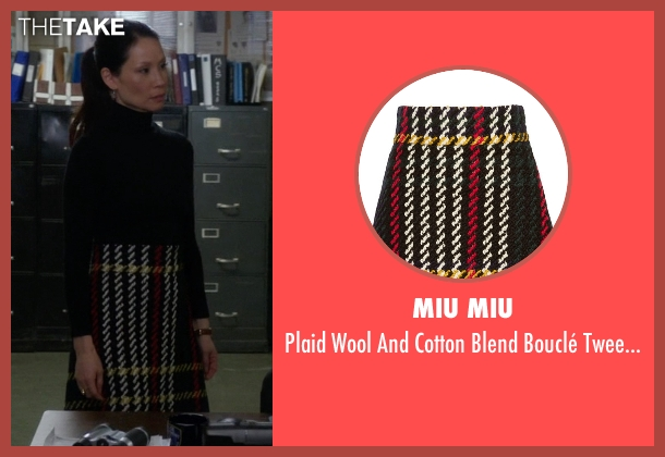 Miu Miu black skirt from Elementary seen with Dr. Joan Watson (Lucy Liu)