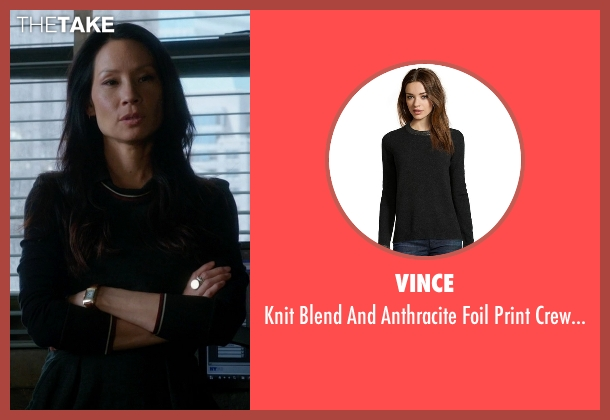Vince black sweater from Elementary seen with Dr. Joan Watson (Lucy Liu)
