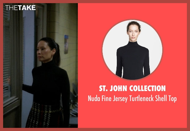 St. John Collection black top from Elementary seen with Dr. Joan Watson (Lucy Liu)