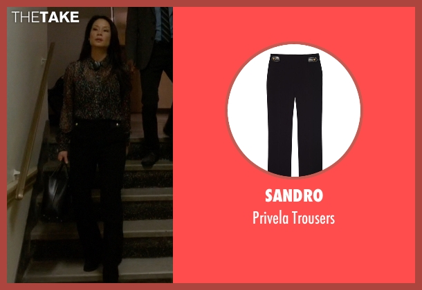 Sandro black trousers from Elementary seen with Dr. Joan Watson (Lucy Liu)