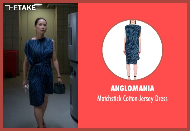 Anglomania blue dress from Elementary seen with Dr. Joan Watson (Lucy Liu)