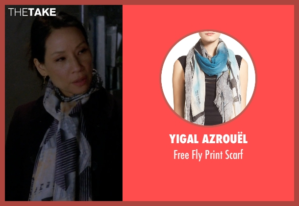 Yigal Azrouël blue scarf from Elementary seen with Dr. Joan Watson (Lucy Liu)