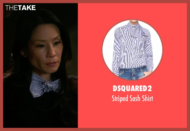 Dsquared2 blue shirt from Elementary seen with Dr. Joan Watson (Lucy Liu)