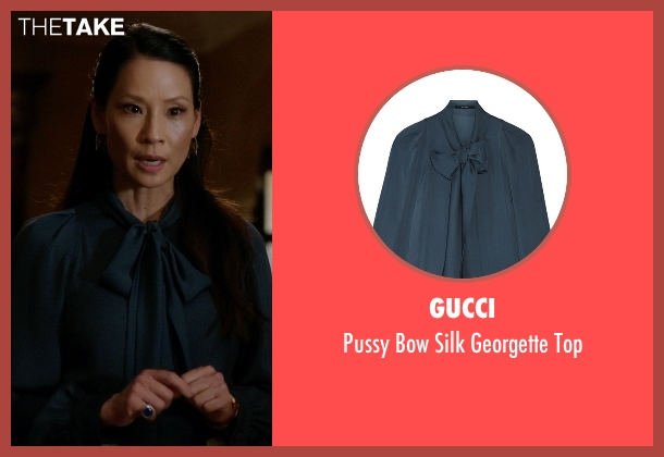 Gucci blue top from Elementary seen with Dr. Joan Watson (Lucy Liu)