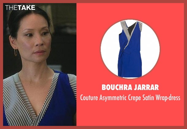 Bouchra Jarrar blue wrap-dress from Elementary seen with Dr. Joan Watson (Lucy Liu)