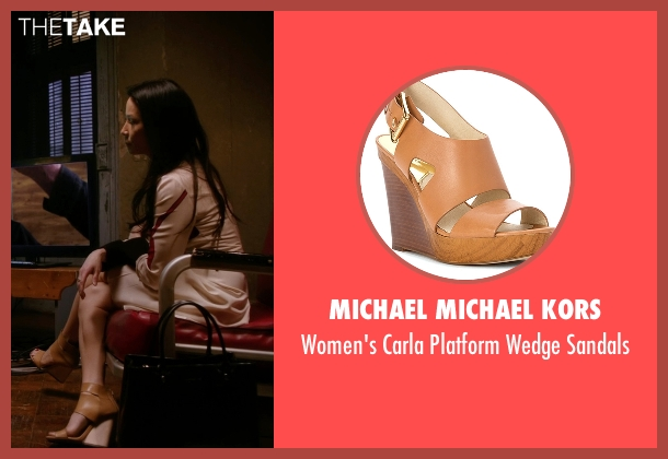 Michael Michael Kors brown sandals from Elementary seen with Dr. Joan Watson (Lucy Liu)