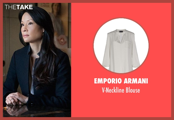 Emporio Armani gray blouse from Elementary seen with Dr. Joan Watson (Lucy Liu)