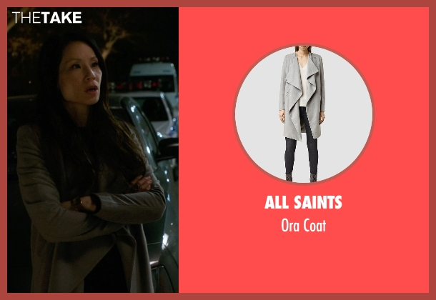 All Saints gray coat from Elementary seen with Dr. Joan Watson (Lucy Liu)