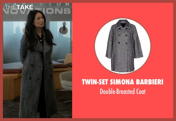 Twin-Set Simona Barbieri gray coat from Elementary seen with Dr. Joan Watson (Lucy Liu)