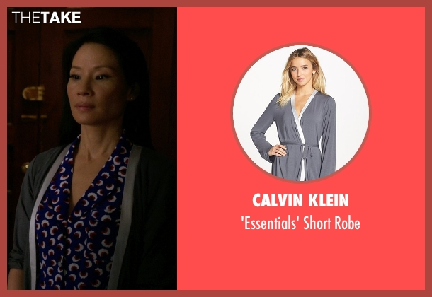Calvin Klein gray robe from Elementary seen with Dr. Joan Watson (Lucy Liu)