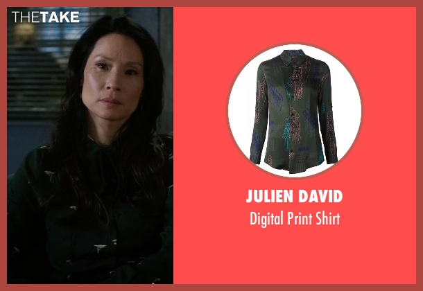 Julien David green shirt from Elementary seen with Dr. Joan Watson (Lucy Liu)