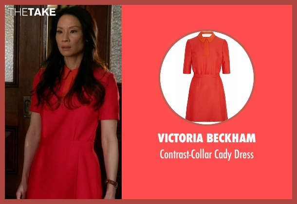 Victoria Beckham orange dress from Elementary seen with Dr. Joan Watson (Lucy Liu)