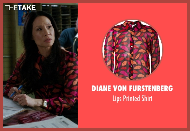 Diane Von Furstenberg pink shirt from Elementary seen with Dr. Joan Watson (Lucy Liu)