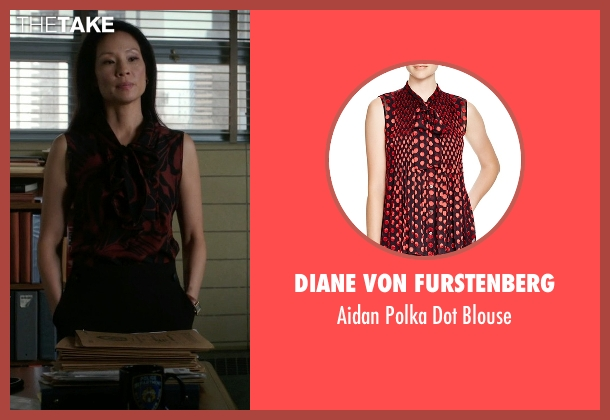 Diane Von Furstenberg red blouse from Elementary seen with Dr. Joan Watson (Lucy Liu)