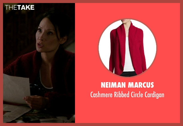 Neiman Marcus red cardigan from Elementary seen with Dr. Joan Watson (Lucy Liu)