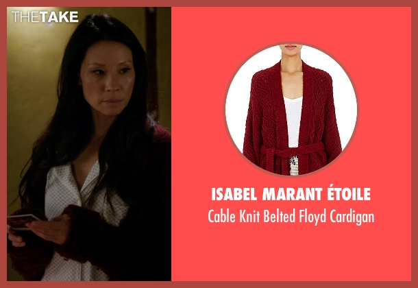 Isabel Marant ÉToile red cardigan from Elementary seen with Dr. Joan Watson (Lucy Liu)