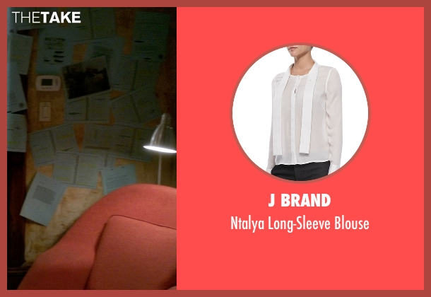 J Brand white blouse from Elementary seen with Dr. Joan Watson (Lucy Liu)