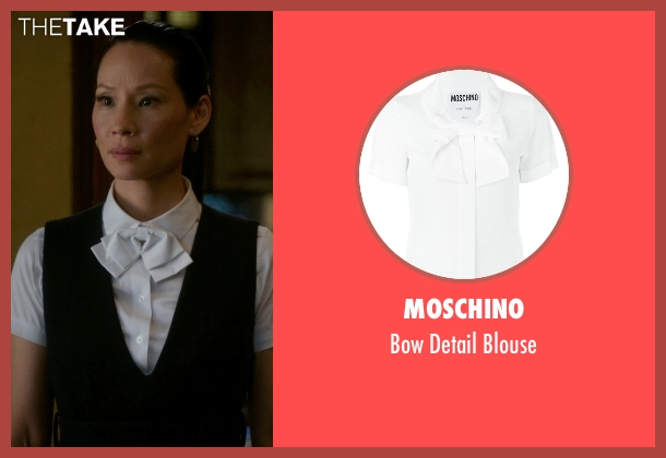 Moschino white blouse from Elementary seen with Dr. Joan Watson (Lucy Liu)