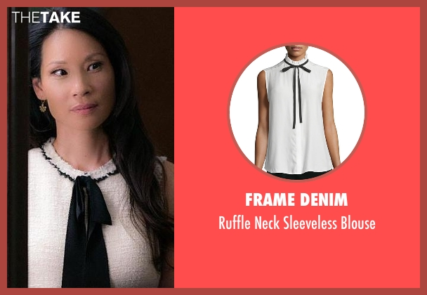 Frame Denim  white blouse from Elementary seen with Dr. Joan Watson (Lucy Liu)
