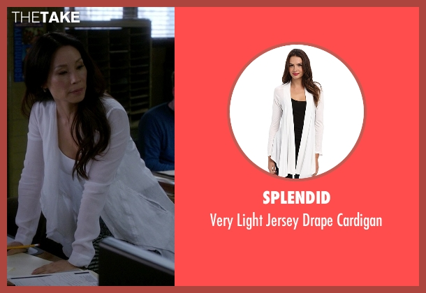 Splendid white cardigan from Elementary seen with Dr. Joan Watson (Lucy Liu)