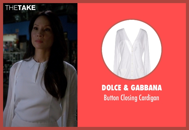 Dolce & Gabbana white cardigan from Elementary seen with Dr. Joan Watson (Lucy Liu)