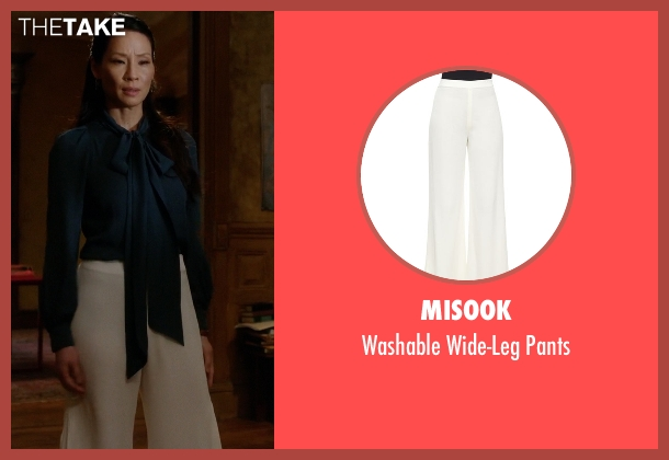 Misook white pants from Elementary seen with Dr. Joan Watson (Lucy Liu)