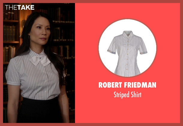 Robert Friedman white shirt from Elementary seen with Dr. Joan Watson (Lucy Liu)