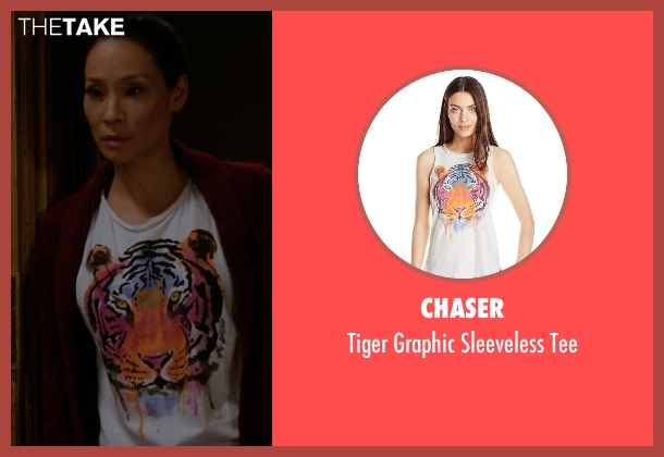 Chaser white tee from Elementary seen with Dr. Joan Watson (Lucy Liu)