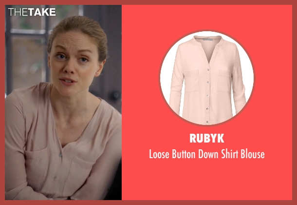 RubyK beige blouse from Suits seen with Dr. Paula Agard (Christina Cole)