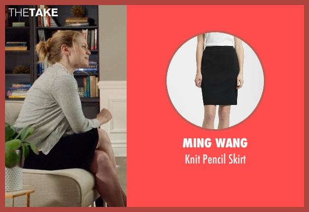 Ming Wang black skirt from Suits seen with Dr. Paula Agard (Christina Cole)