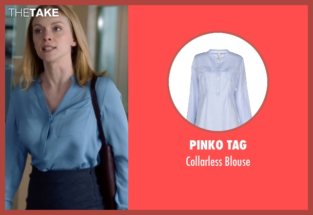 Pinko Tag blue blouse from Suits seen with Dr. Paula Agard (Christina Cole)