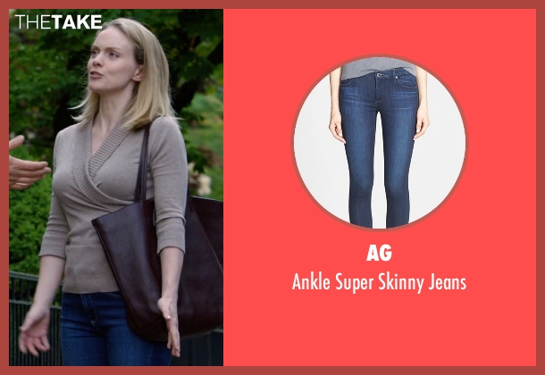 AG blue jeans from Suits seen with Dr. Paula Agard (Christina Cole)